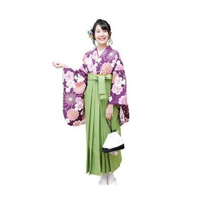 袴セット「紫地に桜と菊 袴黄緑刺繍」 Lサイズ