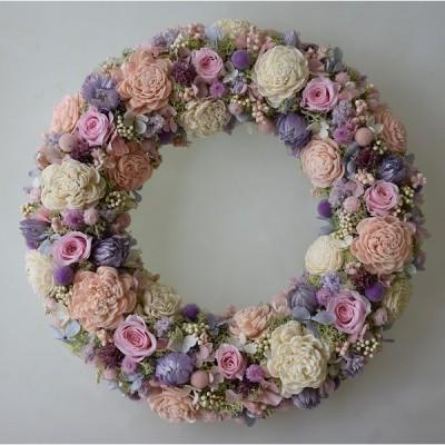 淡いピンクのバラ 白・ピンク・紫のお花 優しい色合いのプリザーブドフラワーリース ギフト プレゼント 誕生日