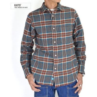 メンズ 長袖チェックシャツ カトー (KATO') チェックレギュラーシャツ BS932093