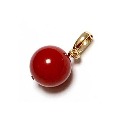 【rvaru】K18トップ 赤珊瑚 10mm(染色加工)さんご 天然石 K18YG ペンダントトップ 18金 イエローゴールド ネックレス 3月 誕生石