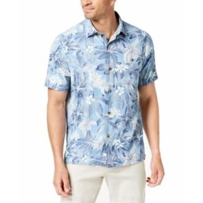 Tommy Bahama トミーバハマ ファッション アウター Tommy Bahama Mens Blue Small S Jungle Print Button Down Silk Shirt