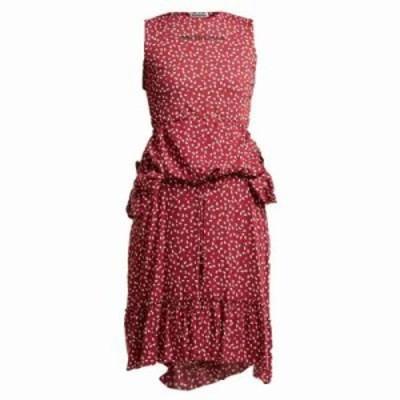 バレンシアガ パーティードレス Paisley-print layered dress Burgundy