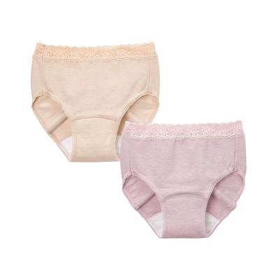 日本製 綿混ストレッチレーシー吸水ショーツ2枚組(10cc対応)(L) スタンダードショーツ, Panties