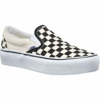 ヴァンズ スリッポン・フラット Classic Slip-On Platform Sneaker Black/White Checker/White Canvas