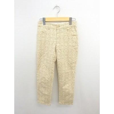 【中古】グリーンレーベルリラクシング ユナイテッドアローズ green label relaxing パンツ 総柄 ストレート 綿 36 薄茶 白