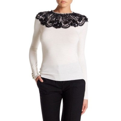 セーター オスカーデラレンタ Oscar de la Renta Paillette Lace Embellished Wool Pullover White M
