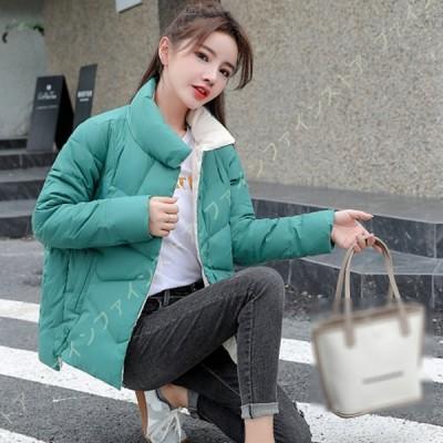 ダウンコート レディース ショート丈 大きいサイズ 立て襟 シンプル 小顔効果 キルティング風 ダウンジャケット 秋冬 おしゃれ ボタン付き 韓国風