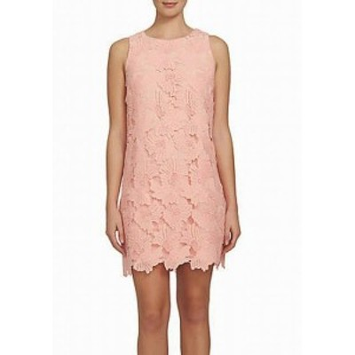 CeCe  ファッション ドレス CeCe Womens Floral Lace Crochet Pink Size 6 Sleeveless Shift Dress