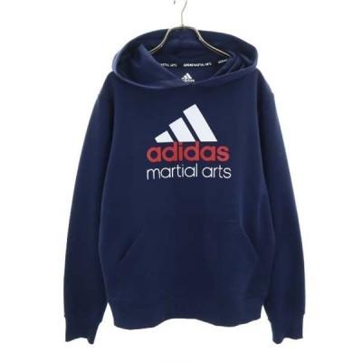 アディダス マーシャルアーツ ロゴ プリント スウェットパーカー M 紺 adidas MARTIAL ARTS スポーツ メンズ 古着 210303