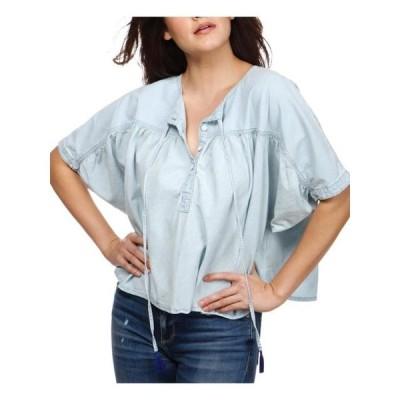レディース 衣類 トップス Lucky Brand Womens Ruched Short Sleeves Pullover Top ブラウス&シャツ
