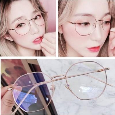 大特価中🔥新しい 多角形 眼鏡 伊達メガネ  メタルフレーム 近視 度なし 伊達メガネ だてめがね レディース メンズ  UV対策 小顔効果 【PC・スマホ対応ブルーライトカットメガネ】