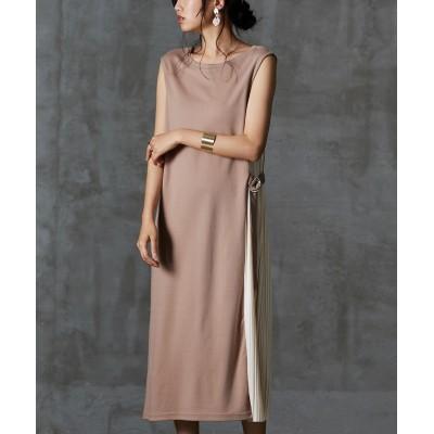 サイドプリーツノースリロング丈ワンピース (ワンピース)Dress