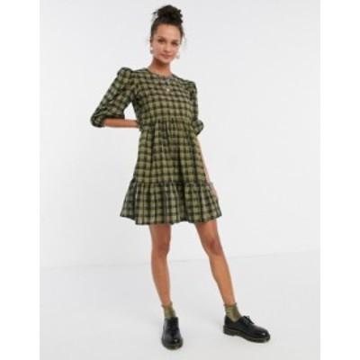 ニュールック レディース ワンピース トップス New Look mini smock dress in green plaid Green pattern
