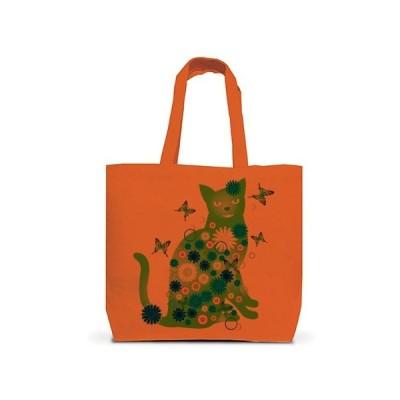 花と猫(GREEN) トートバッグL(オレンジ)