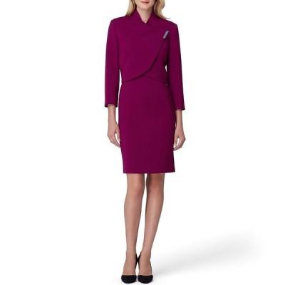 タハリエーエスエル  レディース ワンピース トップス Stretch Double Weave Envelope Collar Jacket 2-Piece Dress Suit Magenta