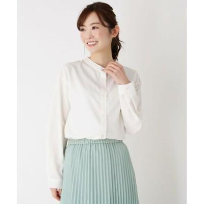 pink adobe/ピンクアドベ 【M-3L】バンドカラーシャツ オフホワイト(003) 42(LL)