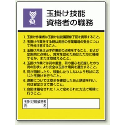 玉掛け技能 「作業主任者職務表示板」 (安全用品・標識/安全標識)