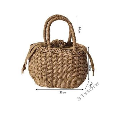 かごバッグバケツ型かごバッグハンドバッグ小物バケツ型ペーパーバッグバケツ型巾着付きかごバッグ夏巾着小さめサイズナチュラル手編み