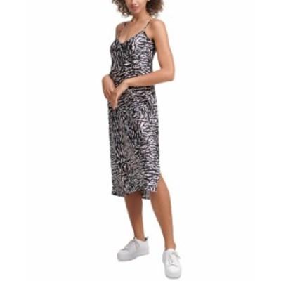 カルバンクライン レディース ワンピース トップス Printed Slip Dress Easy Tiger Rose Quartz/ Black