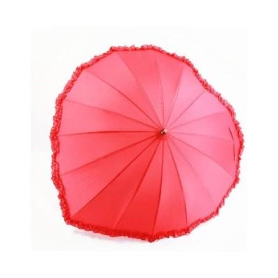 α-mode レディース ハート型 アンブレラ 長傘 可愛い赤のハート形