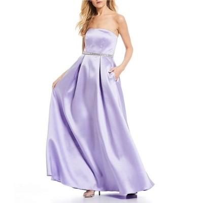 シークインハーツ レディース ワンピース トップス Strapless Beaded-Belt Long Dress