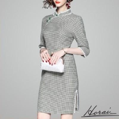 韓国 ドレス 七分袖 ミニ丈 チャイナドレス風 スタンドカラー チェック スカート ワンピース フォーマル 結婚式 20代 30代