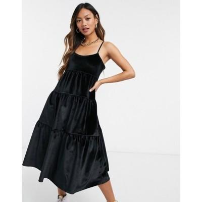 エイソス レディース ワンピース トップス ASOS DESIGN skinny straps minimal tiered bonded velvet midi dress in black