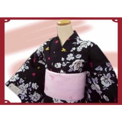 キュート&艶やか♪ブランド浴衣&帯セット★松田聖子黒地薔薇