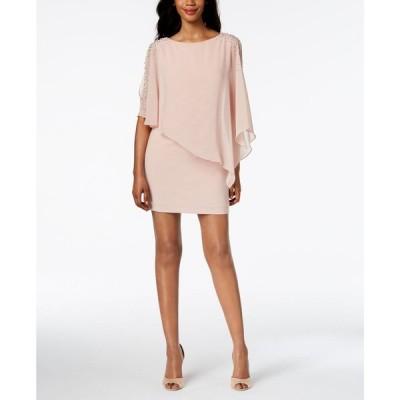 エックススケープ XSCAPE レディース パーティードレス ワンピース・ドレス Petite Capelet Sheath Dress Blush