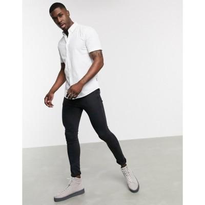 オンリーアンドサンズ メンズ シャツ トップス Only & Sons short sleeve stretch cotton shirt in white