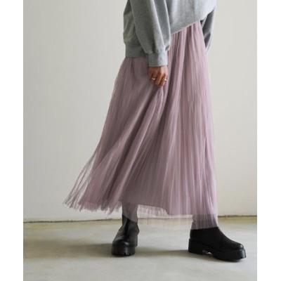 ワッシャープリーツチュールスカート