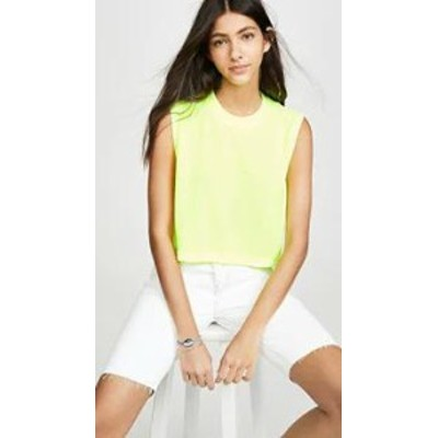 Hanes x Karla レディーストップス Hanes x Karla The Sleeveless Crop Tee-XK046 Neon Yellow