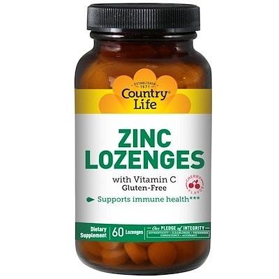 Zinc Lozenges with Vitamin C, Cherry, 60 Lozenges