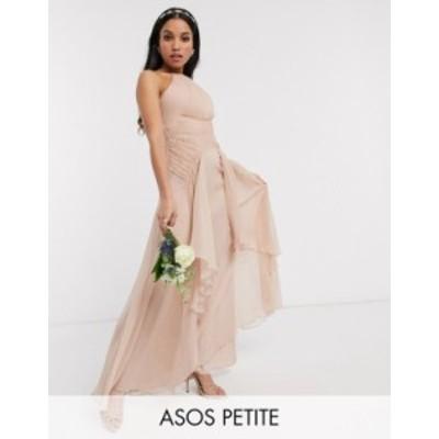 エイソス レディース ワンピース トップス ASOS DESIGN Petite Bridesmaid pinny maxi dress with ruched bodice and layered skirt deta