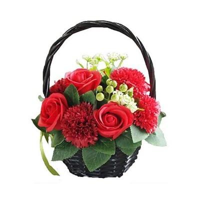 ソープフラワー 花かご レッド フラワーアレンジメント シャボンフラワー 造花 枯れない 花 カゴ 花 バラ カーネーション 赤