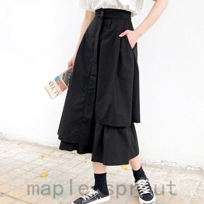アシンメトリー デザイン スカート 個性的 きれいめ 清楚 韓国スタイル 韓国スタイル デイリー