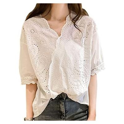 白 シャツ ブラウス レディース トップス おしゃれ 可愛い 夏 刺繍 Vネック 半袖 ゆったり 大きいサイズ オシャレ レ(s2111130064)