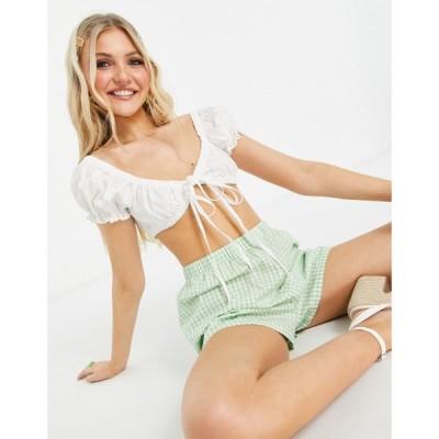 デイジーストリート Daisy Street レディース ベアトップ・チューブトップ・クロップド トップス crop milkmaid top with ruching and tie front ホワイト