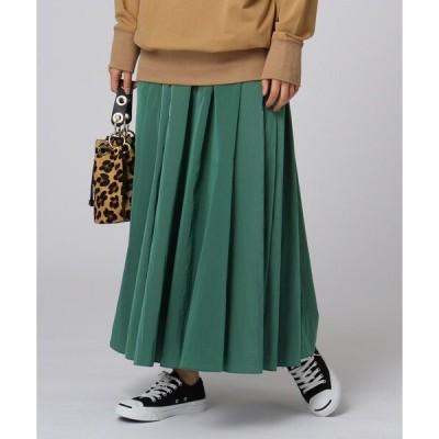 スカート 【洗える】ワッシャータフタ ロングフレアスカート