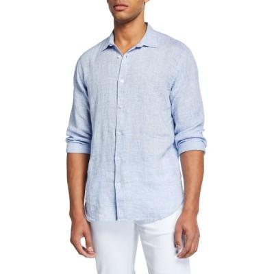 オールバー ブラウン メンズ シャツ トップス Men's Giles Linen Sport Shirt