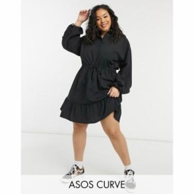 エイソス ASOS Curve レディース ワンピース Asos Design Curve Button Through Mini Skater Shirt Dress With Pephem In Self Stripe In