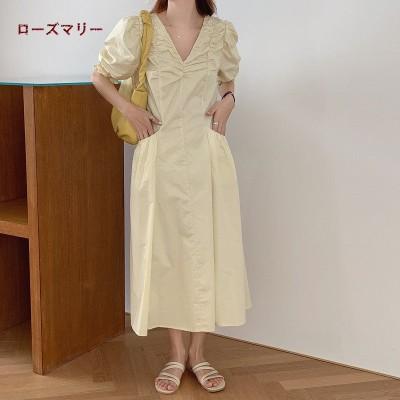 ローズマリー  韓国ファッション 🌸 Korea シンプル Vネックのプリーツワンピース  半袖ワンピース   無地  ロングワンピース  大人気  202004424