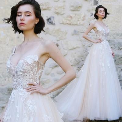 ウエディングドレス aライン セクシー 安い ウェディングドレス 花嫁 結婚式 白 パーティードレス レース 二次会 ブライダル 透かし 撮影 イブニングドレス