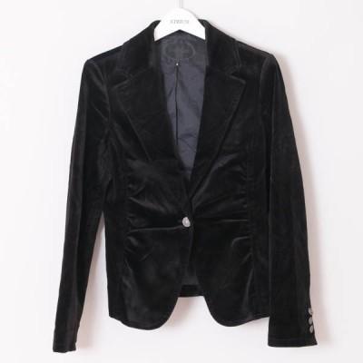 美品 アンタイトル ビロード素材 レディース ジャケット ブラック size3 X02635