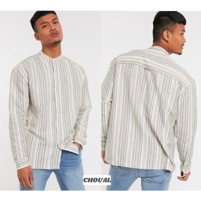 メンズボタンダウン ストライプ リネン(麻) ストリート 長袖 コットン オーバーサイズ ASOS ナチュラルエクリュストライプ 90年代オーバーサイズシャツ