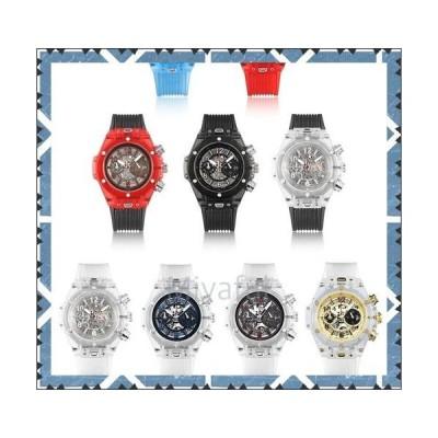 メンズ腕時計 おすすめ スケルトン シリコン ウォッチ クォーツ クロノグラフ