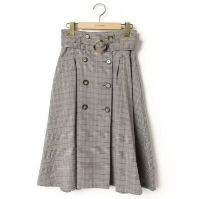 スカート チェック柄フレアスカート