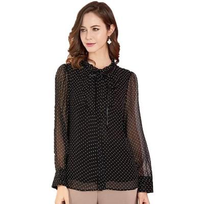 CISULI 100%マルベリーシルクシフォンシャツ ドットプリントシャツ 女性の夏のシャツ 長袖 (01, XL)