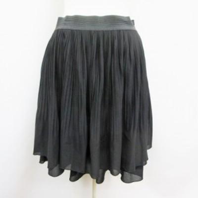 【中古】ナチュラルビューティーベーシック NATURAL BEAUTY BASIC スカート ミニ丈 消しプリーツ ウエストゴム M 黒