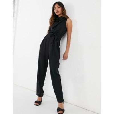 エイソス レディース ワンピース トップス ASOS DESIGN cowl neck chiffon top jumpsuit in black Black
